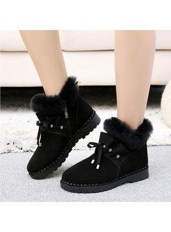 Plush Ruffle Lace-up Flat Ankle Boots