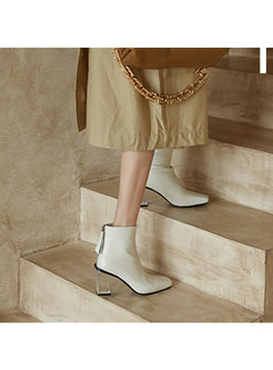 Square Toe Transparent Block Heel Boots