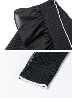 V-neck Ruffle Patchwork Slim Sweater