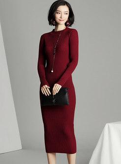 Crew Neck Sheath Midi Knitted Dress
