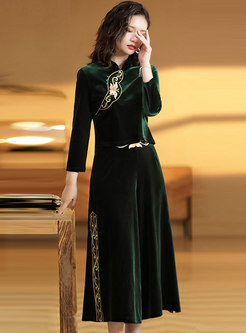 Mandarin Collar Embroidered Velvet Pant Suits