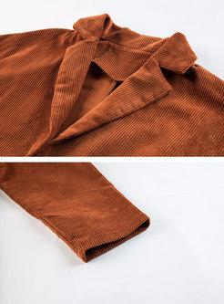 Lapel Long Sleeve Corduroy Wide Leg Pant Suits