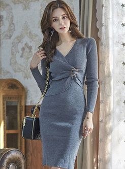 Cross V-neck Ruched Bodycon Knitted Dress