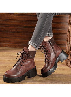 Retro Lace-up Block Heel Ankle Boots
