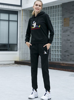 Hooded Cartoon Embroidered Sweatshirt Pant Suits
