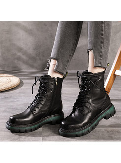 Rounded Toe Retro Lace-up Ankle Boots