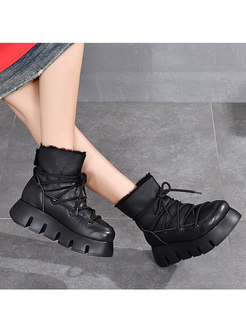 Retro Rounded Toe Platform Wool Ankle Boots