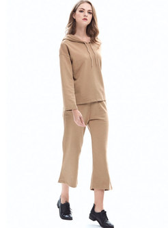 Hooded Solid Casual Straight Pant Suits