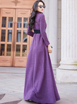 Turtleneck Big Hem Maxi Dress With Pockets