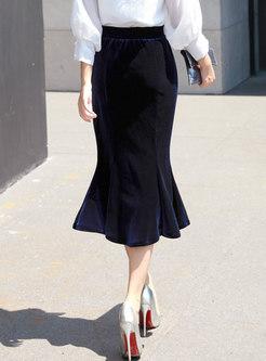 High Waisted Velvet Peplum Long Skirt