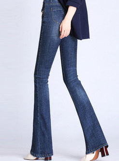 High Waisted Solid Denim Flare Pants