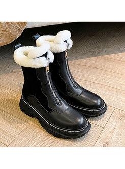 Short Plush Patchwork Non-slip Ankle Boots
