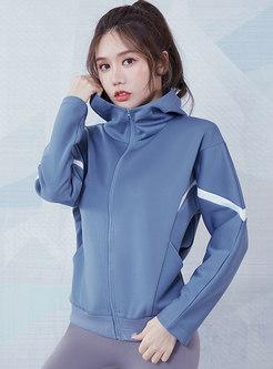 Hooded Color-blocked Sport Yoga Jacket