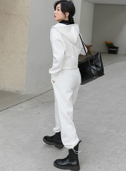 Casual Hooded Cropped Jacket & Harem Pants