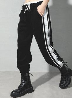 Striped Patchwork Elastic Waist Joggers