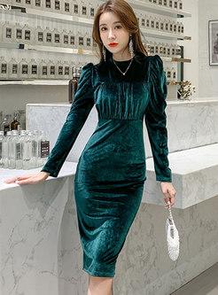 Puff Sleeve Velvet Split Bodycon Dress