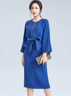 Crew Neck Bowknot Tied Knee-length Skirt Suits