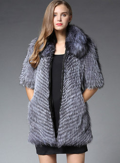 Lapel Half Sleeve Front Zipper Faux Fur Coat