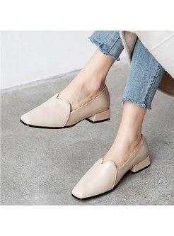 Square Toe Short Plush Low Block Heel Loafers