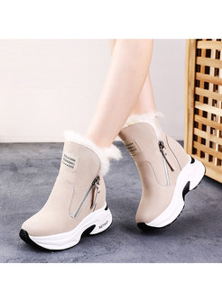 Casual Short Plush Platform Ankle Boots