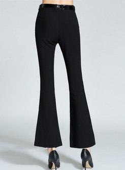 Black High Waisted Split Flare Pants