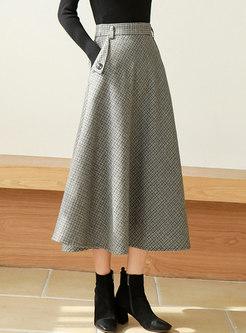 Houndstooth High Waisted A Line Long Skirt