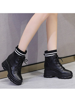 Short Plush Platform Wedge Ankle Boots