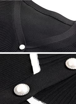 Ruffle Patchwork V-neck Flare Sleeve Cardigan