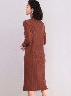 Solid Brief Long Sleeve Shift Sweater Dress