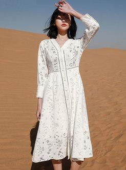White V-neck Openwork High Waisted Beach Dress