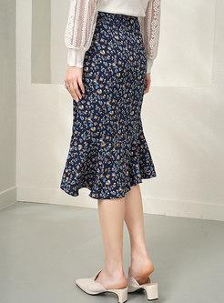 High Waisted Floral Peplum Midi Skirt