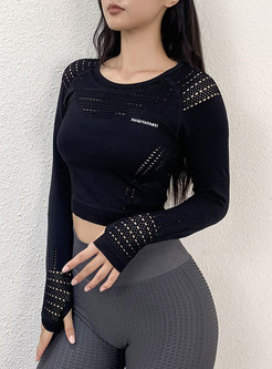 Long Sleeve Tight Quick-drying Cropped Top