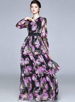 Print Puff Sleeve Chiffon Party Maxi Dress