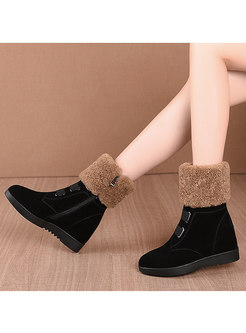 Lambswool Patchwork Wedge Ankle Boots