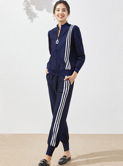 Color-blocked Striped Knitted Casual Pant Suits