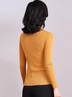 Turtleneck Pullover Slim Ribbed Sweater