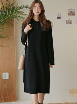 Solid Long Sleeve Shift Sweater Midi Dress