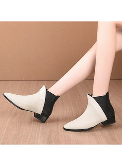 Pointed Toe Color-blocked Chunky Heel Ankle Boots