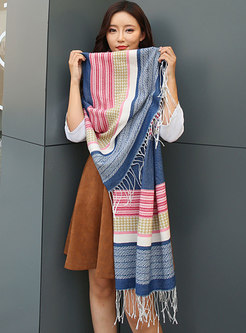 Color-blocked Plaid Faux Cashmere Fringed Scarf