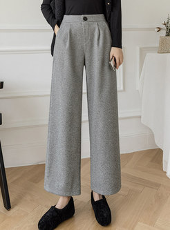 Solid Brief High Waisted Wide Leg Pants