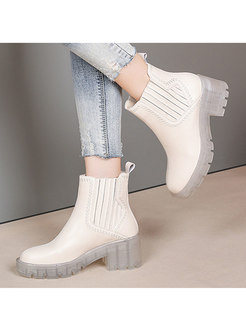 Rounded Toe Low Chunky Heel Ankle Boots
