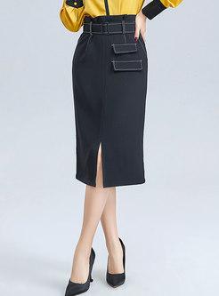 High Waisted Asymmetric Split Skirt