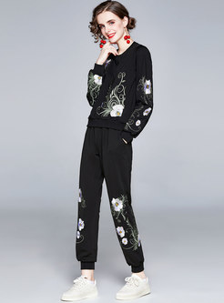 Embroidered Pullover Sweatshirt Pant Suits