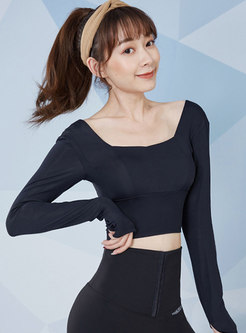 Square Neck Tight Fitness Cropped Top