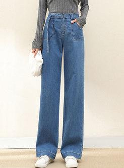 High Waisted Denim Straight Pants