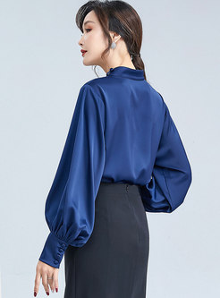 Lantern Sleeve Pullover Chiffon Blouse