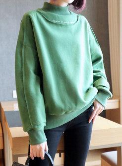 Turtleneck Letter Print Pullover Loose Sweater