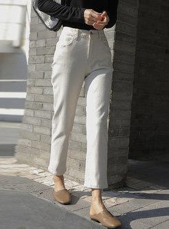 White High Waisted Straight Denim Pants