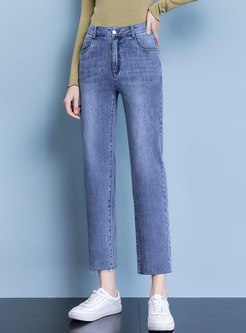High Waisted Solid Denim Straight Pants