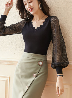 V-neck Lantern Sleeve Pullover Knitted Top